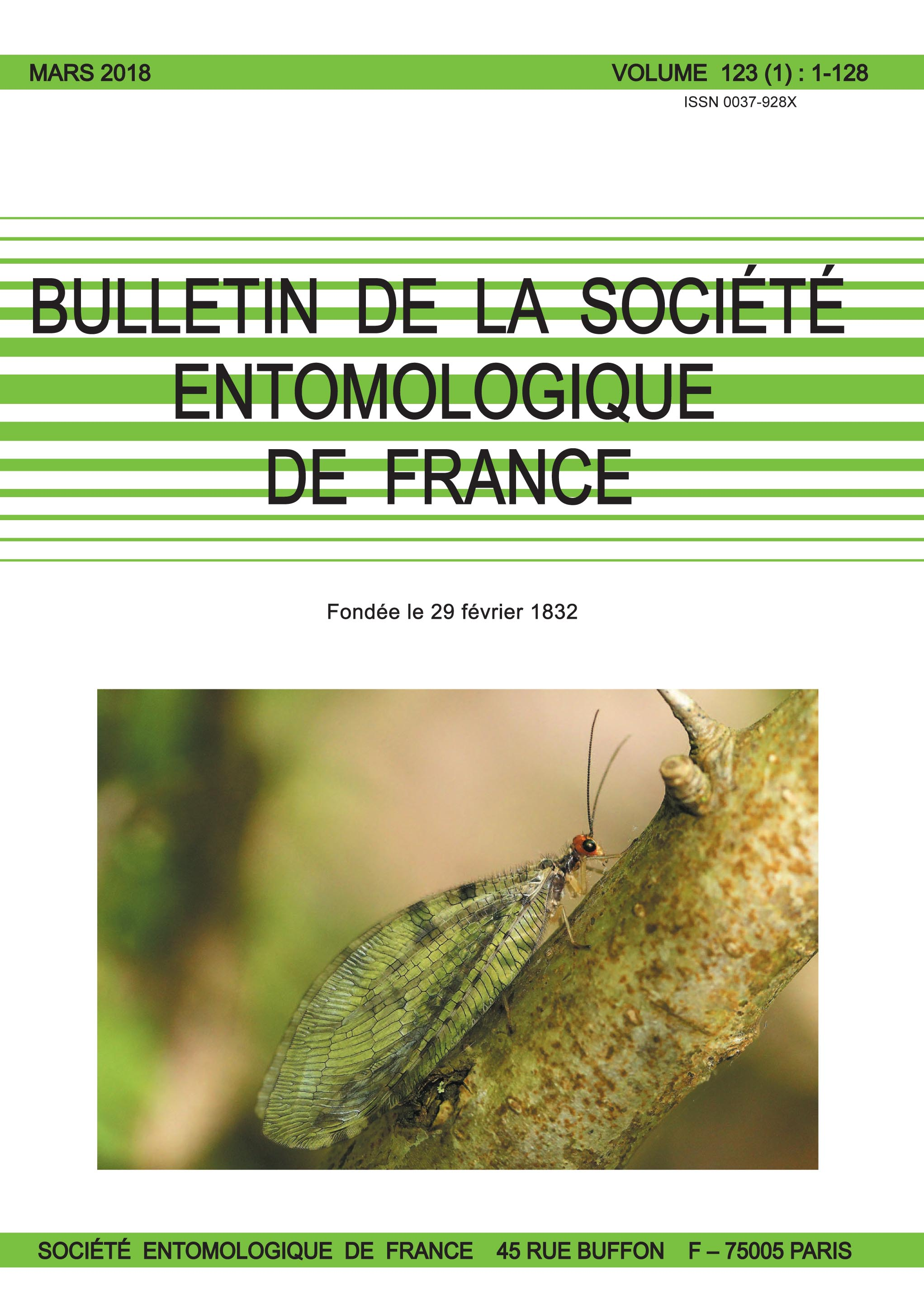 BULLETIN DE LA SOCIETE ENTOMOLOGIQUE DE FRANCE